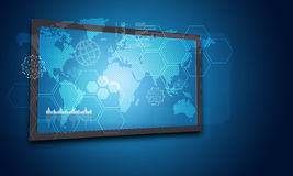 Touchscreen display with world map, graph and Royalty Free Stock Image