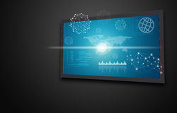 Touchscreen display with world map, graphs and. Other elements, on dark background Stock Photos
