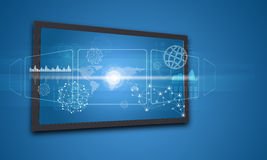 Touchscreen display with world map and other. Elements, on blue background Stock Image