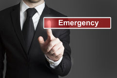 Touchscreen emergency businessman Royalty Free Stock Image