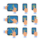 Touchscreen gestures icons set. Tablets and smartphones touchscreen gestures turn select enlarge reduce icons set flat isolated vector illustration Royalty Free Stock Photo