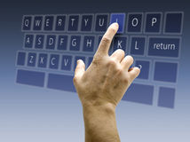 Touchscreen interface keyboard QWERTY. Touchscreen keyboard and interface on blue background stock photography