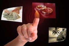 Touchscreen keus Royalty-vrije Stock Fotografie