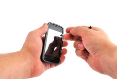 Touchscreen mobile phone Stock Images