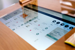 Touchscreen ordering menu. Table,modern dining Stock Photo