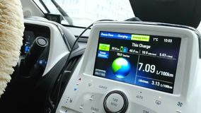 Touchscreen panel display of electric car Chevrolet Volt on the road.