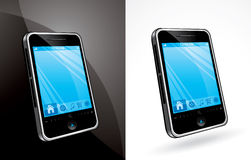 Touchscreen Phone. An illustration of a touchscreen phone, over a black and white backgrounds stock illustration