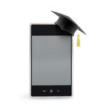 Touchscreen phone in the graduation cap. On a white background stock illustration