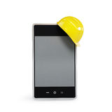 Touchscreen phone in the helmet. On a white background Stock Photo