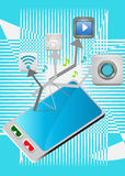Smart phone and media icons stock image