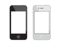 Touchscreen smartphone Apple IPhone 4. Illustration of black and white touchscreen 4g smartphones Royalty Free Stock Photo