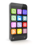 Touchscreen smartphone with application icons Stock Photography