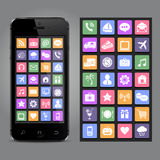Touchscreen smartphone with application icons Royalty Free Stock Images