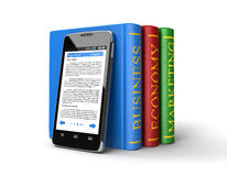 Touchscreen smartphone and Business Books (clipping path included) Stock Image