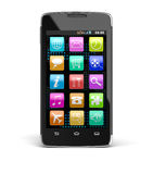 Touchscreen smartphone (clipping path included) Royalty Free Stock Photo
