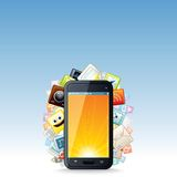 Touchscreen Smartphone with Cloud of Apps Icons Royalty Free Stock Photography