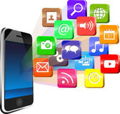 Touchscreen smartphone with cloud of colorful application icons Stock Images