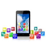 Touchscreen smartphone with cloud of colorful application icons. On white background stock illustration