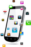 Touchscreen smartphone concept. Vector Concept communicator with app icons Stock Photo