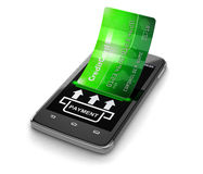 Touchscreen smartphone with credit card (clipping path included) Royalty Free Stock Photography