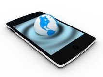 Touchscreen smartphone with Earth globe stock illustration