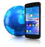 Touchscreen smartphone en de bol van de Aarde Royalty-vrije Stock Afbeelding