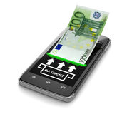 Touchscreen smartphone with euro (clipping path included) Royalty Free Stock Image