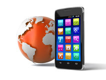Touchscreen smartphone and Globe (clipping path included) Royalty Free Stock Photos