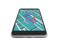 Touchscreen smartphone with GPS navigation application Royalty Free Stock Photo
