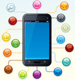 Touchscreen Smartphone with Icons Royalty Free Stock Photo