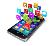 Touchscreen smartphone with pictograms (clipping path included) Stock Images