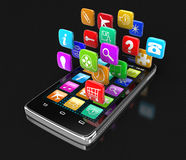 Touchscreen smartphone with pictograms (clipping path included) Royalty Free Stock Photo
