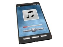 Touchscreen smartphone playing some music. Touchscreen smartphone with the music app open Royalty Free Stock Images