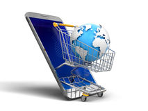 Touchscreen smartphone and Shopping Basket with globe Stock Photos