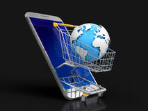 Touchscreen smartphone and Shopping Basket with globe Royalty Free Stock Image