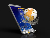 Touchscreen smartphone and Shopping Basket with globe Stock Images