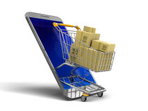 Touchscreen smartphone, Shopping Basket and packages Stock Images