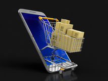 Touchscreen smartphone, Shopping Basket and packages Royalty Free Stock Images