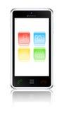 Touchscreen smartphone van verschillende media Stock Foto's