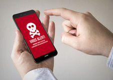 Touchscreen smartphone with  virus on the screen. Close up of man using 3d generated mobile smart phone with virus on the screen. Screen graphics are made up Stock Image