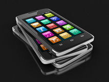 Touchscreen smartphones (clipping path included) Stock Photos