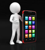 Touchscreen smartphones and man (clipping path included) Royalty Free Stock Photos