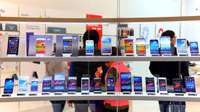 Touchscreen smartphones at store. Assorted brands of touchscreen smartphones for sale at smartone mobile phones store in hong kong Stock Photography