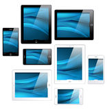 Touchscreen tablets and mobile phones - vector Royalty Free Stock Photography