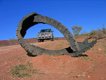 Tough 4WD driving on remote road. Driving on remote desert road in the outback Australia Stock Photo