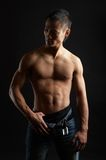 Tough asian guy. Great looking asian guy shot in studio - artistic pose royalty free stock photography
