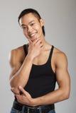 Tough asian guy. Great looking asian guy shot in studio - martial arts pose royalty free stock photos