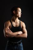 Tough asian guy. Great looking asian guy shot in studio - looking left royalty free stock photo