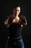 Tough asian guy. Great looking asian guy shot in studio - tough pose Stock Photo