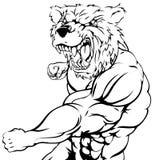 Tough bear mascot attacking Royalty Free Stock Photography